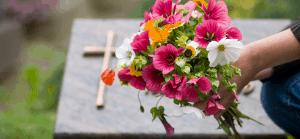 Flower bouquet in cemetery