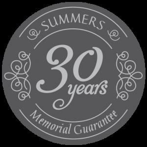 Summers Memorials 30 years guarantee logo