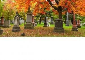 Memorials in a cemetery