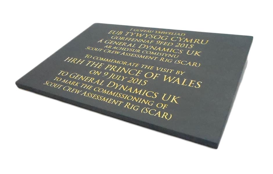 Black commemorative plaque