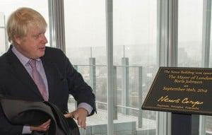 Boris Johnson with commemorative plaque