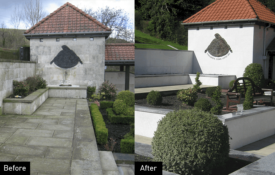 Memorial restoration before and after