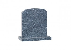 Blue pearl Granite headstone with a shaped top.