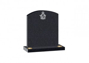 Black Granite headstone with arc top and double flower container and additional crest design.