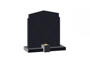 Black Granite headstone with shaped top and clip on flower container.