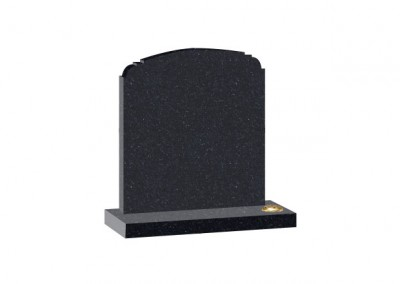 Black Granite headstone with shaped top and single flower container