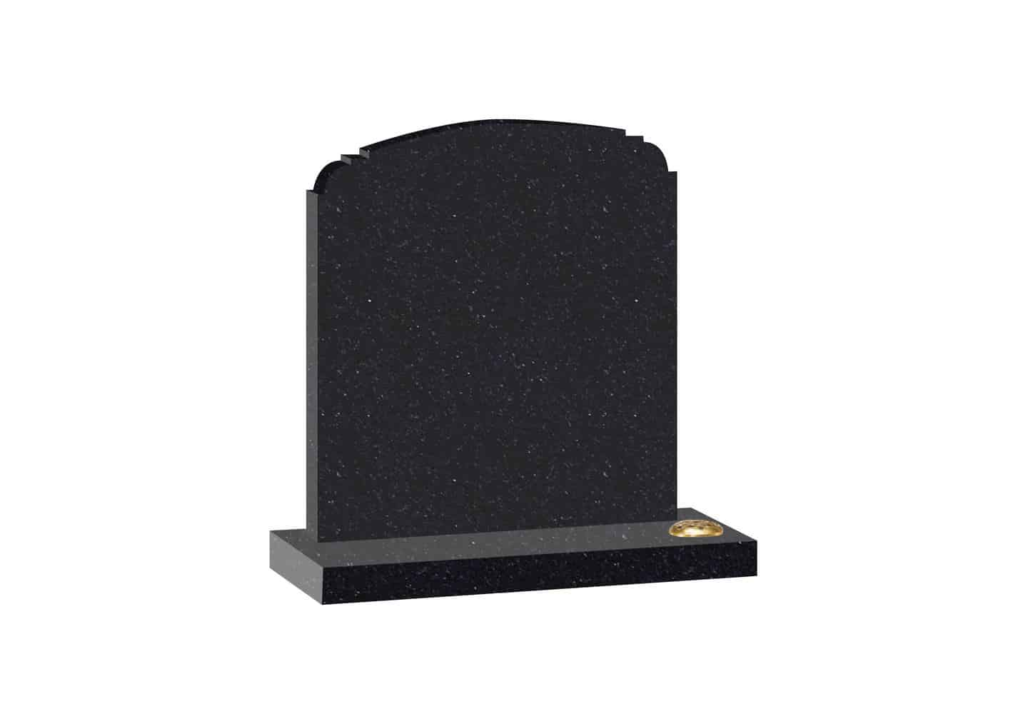Black Granite headstone with shaped top and single flower container.