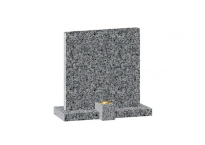 Dark grey Granite headstone with square top and clip on flower container.