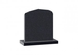Black Granite headstone with shaped top.