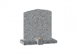 Dark grey Granite headstone with shaped top and clip on container