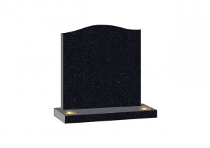 Black Granite headstone with ogee top and double flower container.