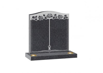 Black Granite headstone with arc top and double flower container and engraved book design.