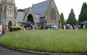 Busy churchyard