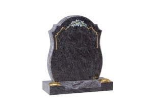 Grey curved headstone with gold leaf engraving and twin flower containers