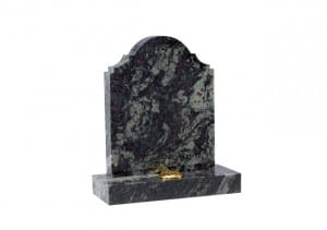 Black memorial headstone with single flower container