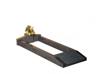Grey granite kerb set with vase at the head end and lettering tablet at the foot.