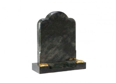 Tropical Green granite headstone with chamfered edge.