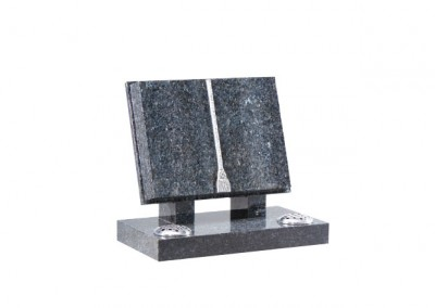 Blue Pearl granite book memorial with a finely carved cord, tassel and shaped pages.
