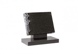 Dark grey granite book memorial with hand carved and highlighted roses.