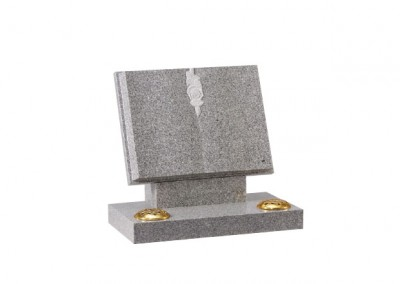 Grey granite book memorial with carved rose and twin flower containers