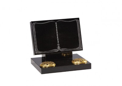 Black granite book memorial with twin flower containers