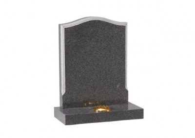 Tropical Green granite headstone with round chamfered edge and centre splay base.