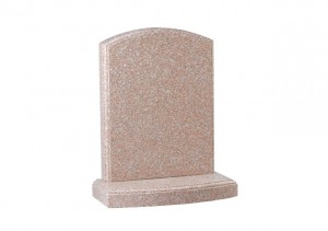 Pink granite headstone with polished moulding on headstone and base.