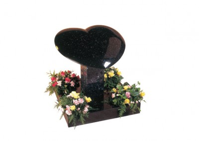 Star Galaxy granite heart memorial with rounded edges.