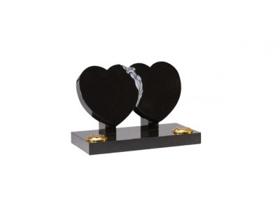 Black granite double heart memorial with hand carved lily.