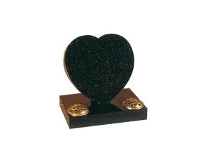 Black granite heart memorial with twin flower containers