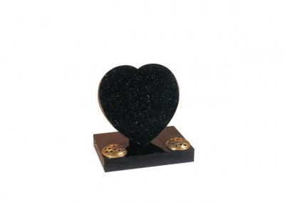 Star galaxy granite heart headstone with two flower containers.