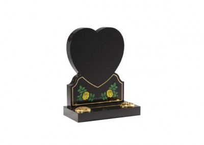 Black granite memorial with etched hand painted heart with roses design.