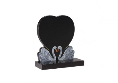 Black granite heart memorial with two etched and painted swans together.