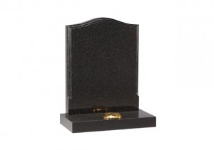 Black granite headstone with engraved border and single flower container