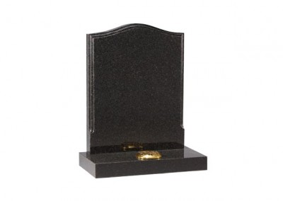 Dark Grey granite headstone with polished moulding on the edges.