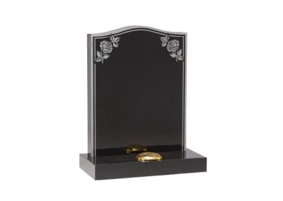 Black granite headstone with etched rose and double border.