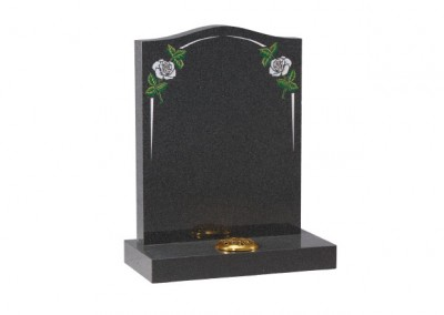 Dark Grey granite headstone with white rose and elegant pin line.