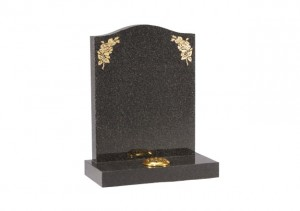 Black granite headstone with gold leaf floral engraved design and single flower container