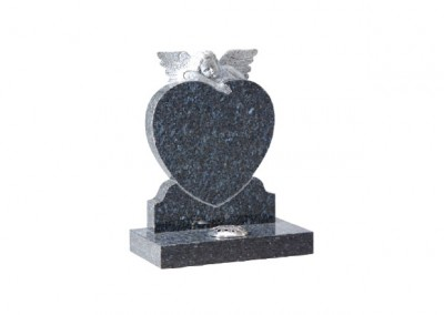 Blue Pearl granite headstone with hand carved angel on heart.