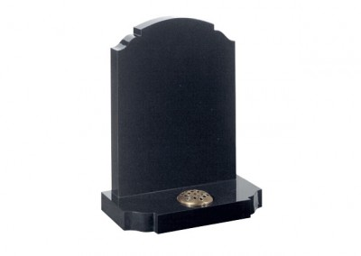 Black granite headstone with traditional churchyard shaped headstone and base.
