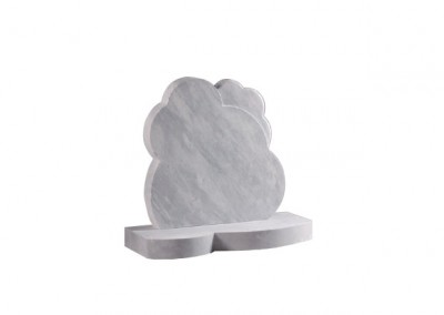 Dove Grey granite headstone cloud memorials with matching base.