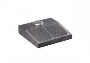 Light Grey granite desk memorial with etched and highlighted book design.