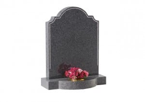 Grey granite headstone with engraved border and single flower container