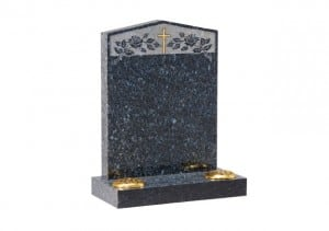 Rectangular lawn memorial headstone with twin flower containers