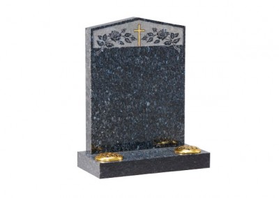 Blue Pearl granite headstone with peon top with etched roses and cross design.