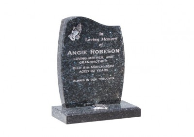 Blue pearl granite with chamfered headstone and optional praying hands ornamentation.