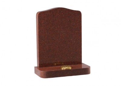 Ruby Red granite headstone with rounded shoulders and matching corners on base.