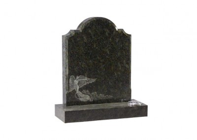 Emerald Pearl granite headstone with detailed etched angel design.