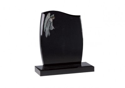 Black granite headstone memorial with etched and painted overlooking angel.
