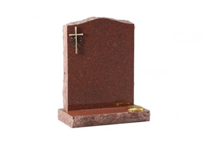 Ruby Red granite headstone with optional bronze cross ornamentation.